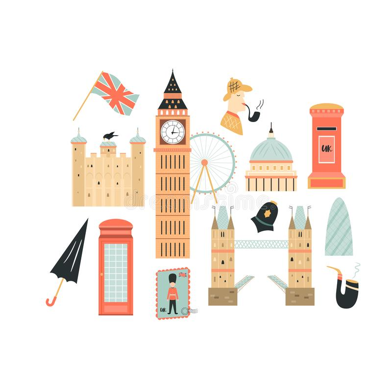 London abstract design with Big Ben, Tower. London abstract background, design with Big Ben, Tower, Westminster Abbey etc stock illustration