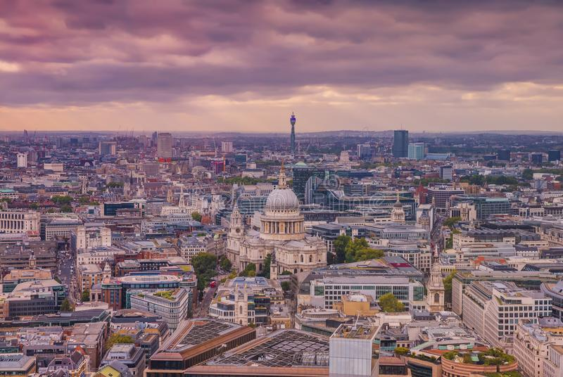 London Aerial View, City Center - View on St Paul`s Cathedral royalty free stock photos