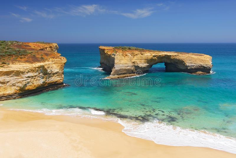 London Arch, natural arch formation in Port Campbell National Park. Great Ocean Road, Victoria State, South Australia.  royalty free stock photography