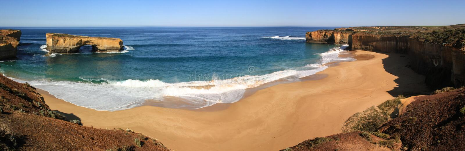 Panoramic view on the London Arch and beach, Great Ocean Road, Victoria, Australia royalty free stock photos