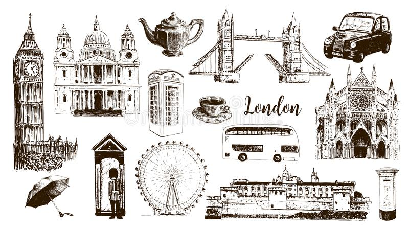 London symbols: Big Ben, Tower Bridge, bus, guardsman, mail box, call box. St. Paul Cathedral, tea, umbrella royalty free illustration