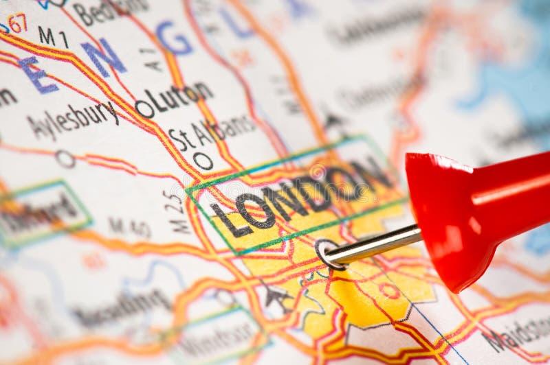 London auf einer Karte stockfoto