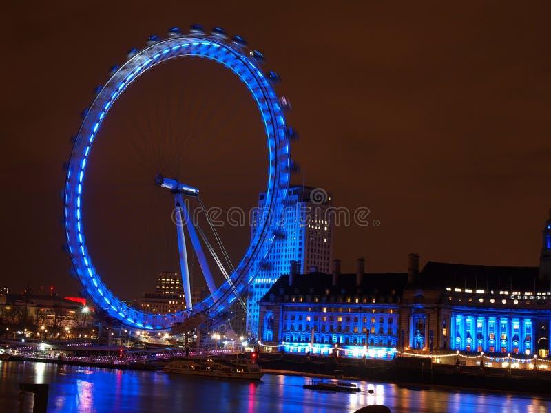 London-Auge bis zum Nacht stockfotos
