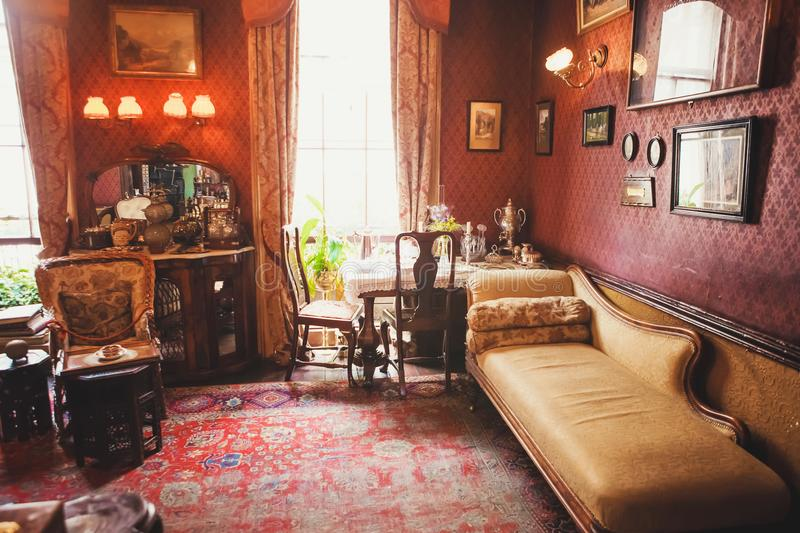 LONDON - AUGUST 24, 2017: The Sherlock Holmes museum is located. On Baker Street and is dedicated to the fictional detective Sherlock Holmes. Inside the royalty free stock photography