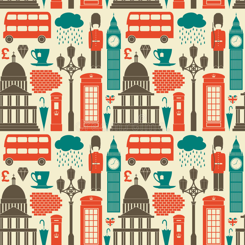London Background. Seamless pattern with London symbols and landmarks