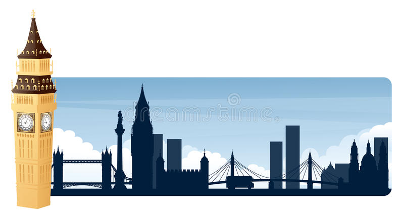 London Banners. Big Ben with London landmark silhouette banner stock illustration