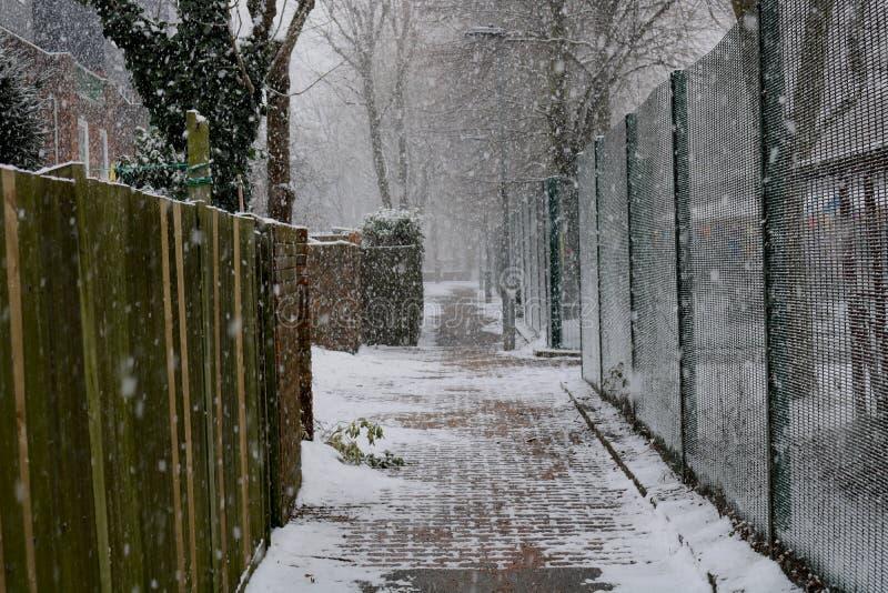 London bedeckte durch Schnee stockbild
