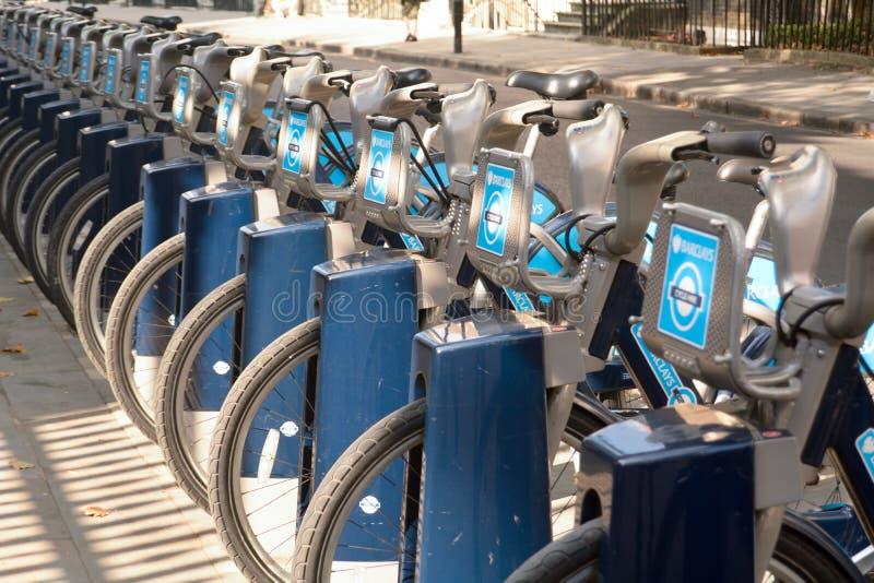 London bicycles - Boris bikes for hire royalty free stock photo