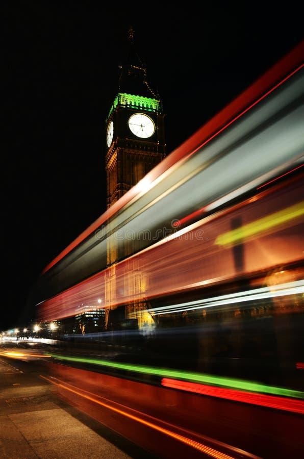 London, Big Ben, bus in motion royalty free stock image