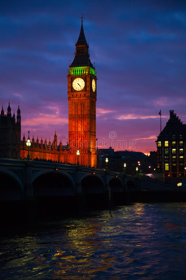 London. Big Ben clock tower. Famous Big Ben clock tower in London, UK royalty free stock photo