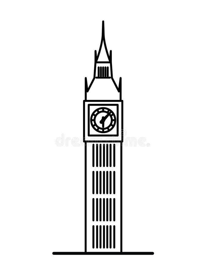london big ben linear illustration stock vector illustration of rh dreamstime com big ben vector free big ben vector image
