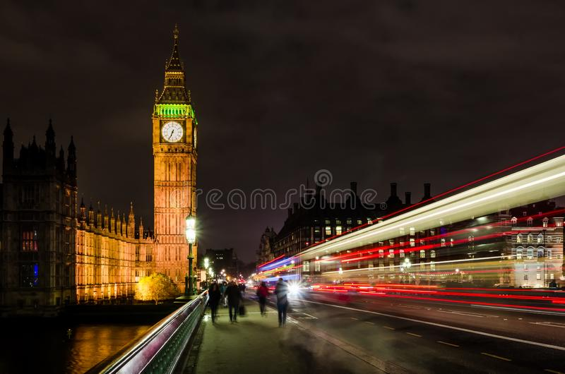 London Big Ben night bus light trails UK royalty free stock photos