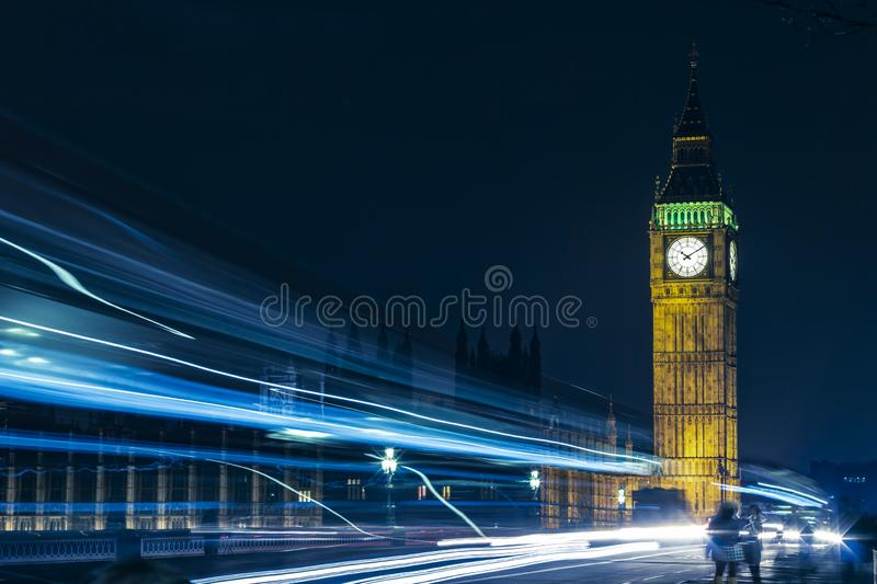 London Big Ben At Night Light Trails royalty free stock photo