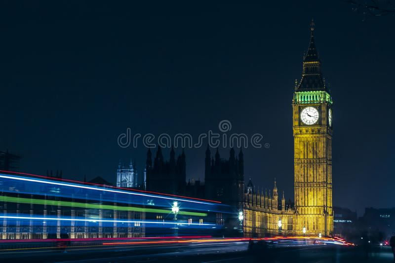London Big Ben At Night Light Trails royalty free stock photos