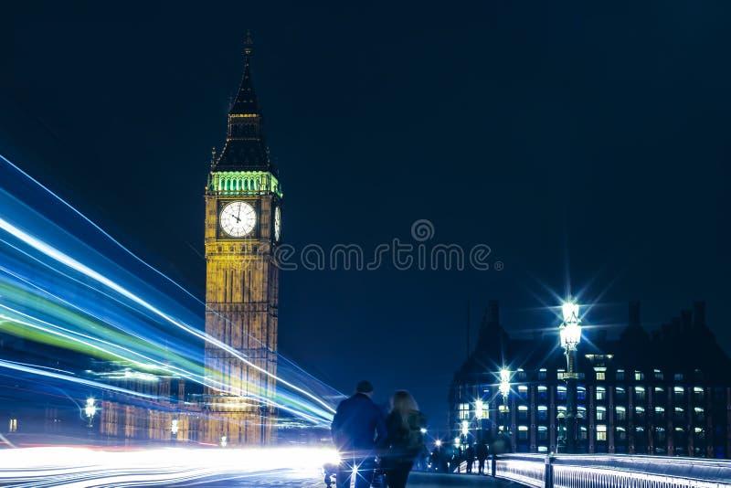 London Big Ben At Night Light Trails royalty free stock image