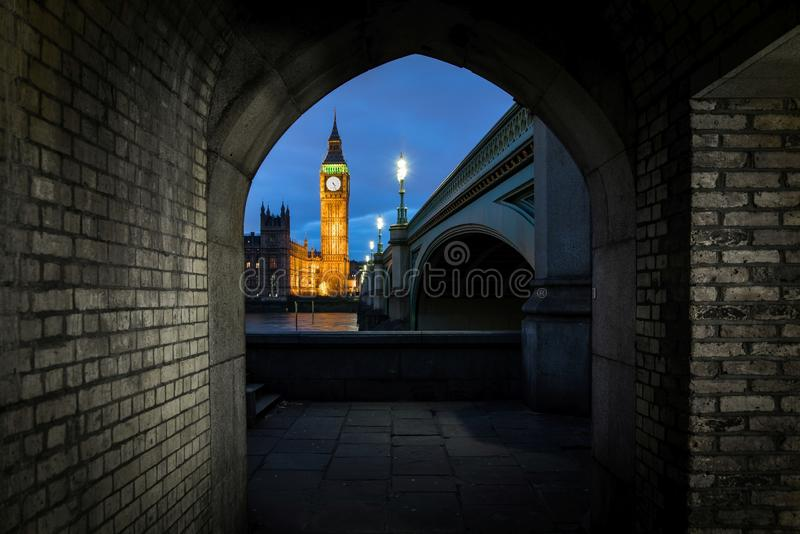 Big Ben sunset light. Clock, building. royalty free stock image