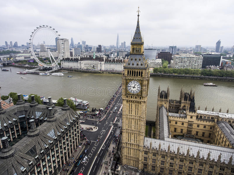 London the Big Ben Tower clock Skyline aerial 2. London with the Big Ben Tower clock the Skyline aerial 2 royalty free stock photography