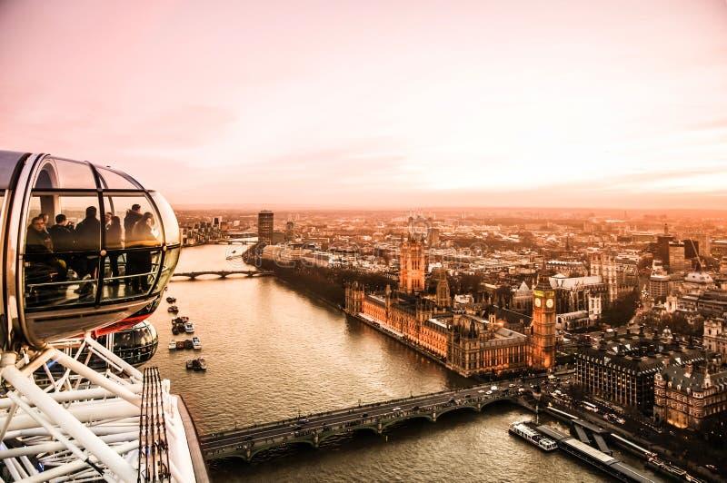 London Big Ben und Parlamentsgebäude von London-Auge lizenzfreies stockfoto
