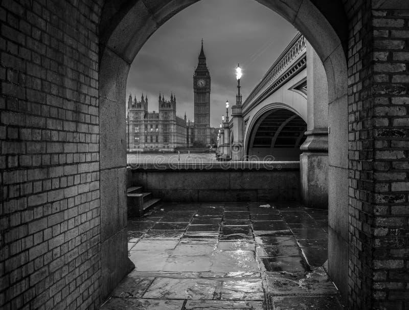 London big ben view frame black and white. Light stock image
