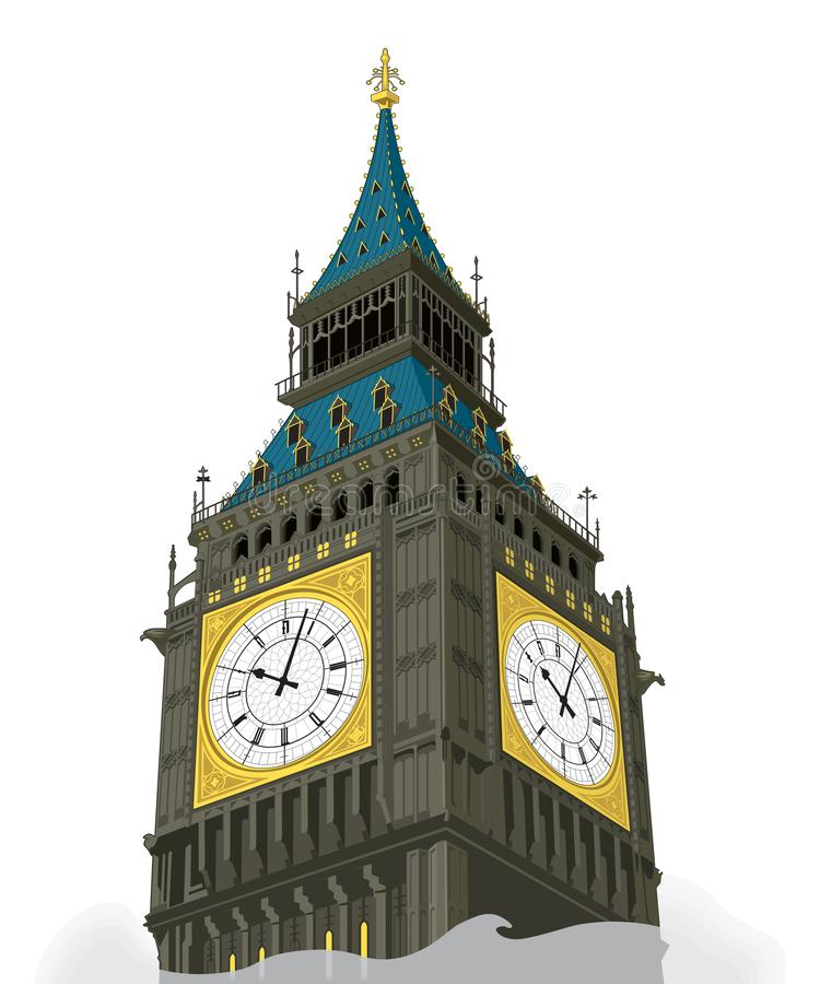 London Bigben tower sketch building design vector art. In EPS 10 and on white background stock illustration