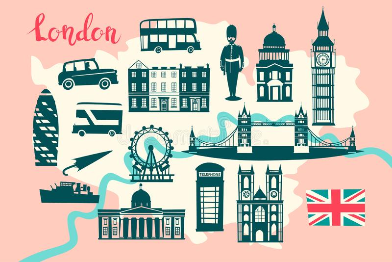 London-Bildkartevektor Skylineschattenbild Illustration stock abbildung