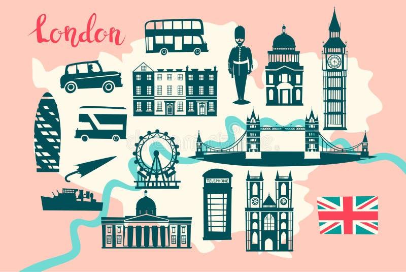 London-Bildkartevektor Skylineschattenbild Illustration, vektor abbildung