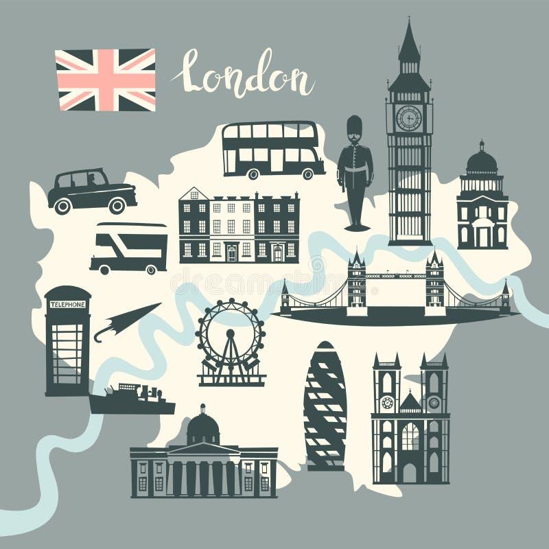 London-Bildkartevektor Skylineschattenbild Illustration, graue Farbe lizenzfreie abbildung
