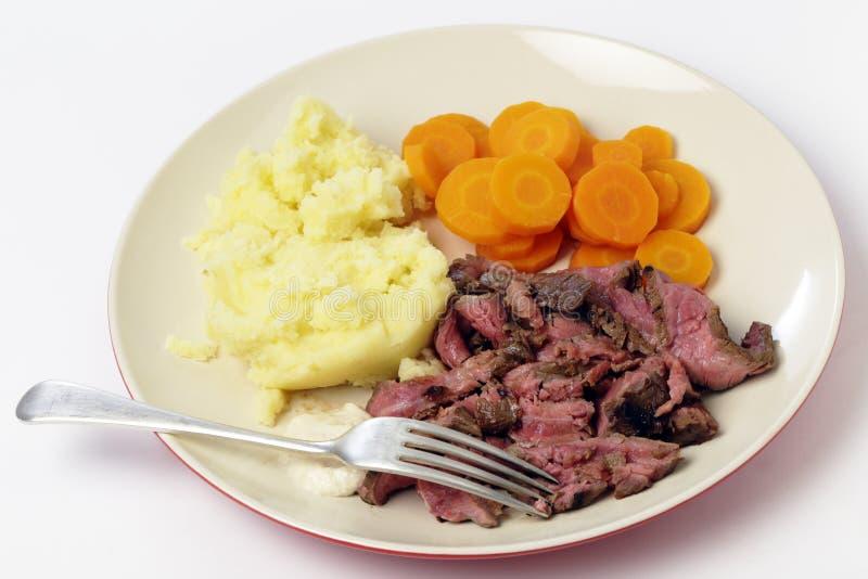 London braten Mahlzeit mit Gabel lizenzfreies stockbild