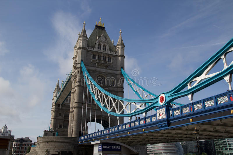 London Bridge. LONDON - MAY 30: The London Bridge in London on May 30, 2011. Giant Olympic rings will be installed on the Tower Bridge during next year's 2012 royalty free stock photo