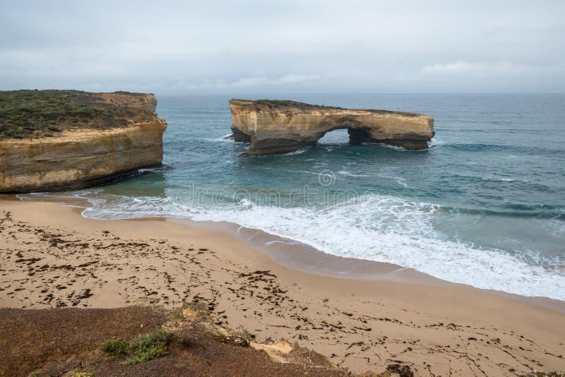 London Bridge has fallen down:  Great Ocean Road, Victoria, Australia royalty free stock image