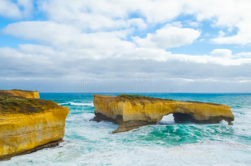 London Bridge, Limestone rock formation, Victoria, Australia stock photography