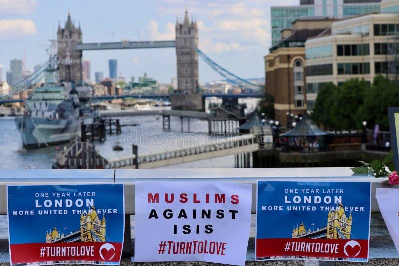 Remembering London Bridge terrorist attacks. London bridge Terror victims honoured, at an anniversary service for victims of the London Bridge attack royalty free stock images
