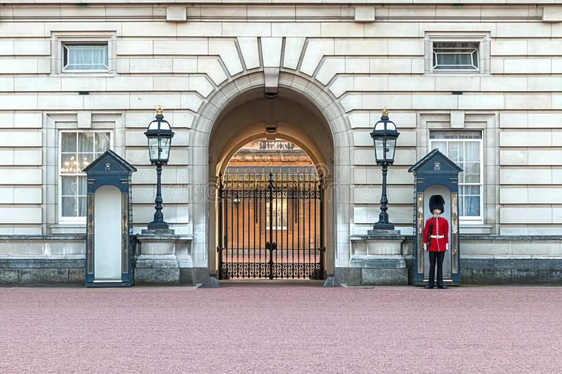 London, Britain, Buckingham Palace - SEP 2014. Queens Guard on duty. stock image