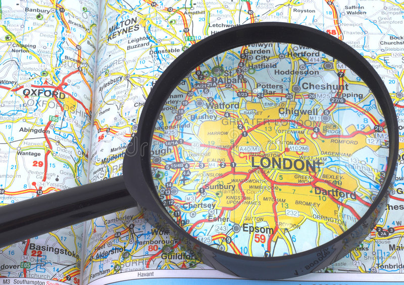 Download London - Britain Map Under Loupe Royalty Free Stock Image - Image: 4784636