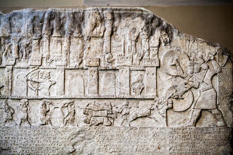 29. 07. 2015, LONDON, BRITISH MUSEUM - Egyptian carved scene stock photography