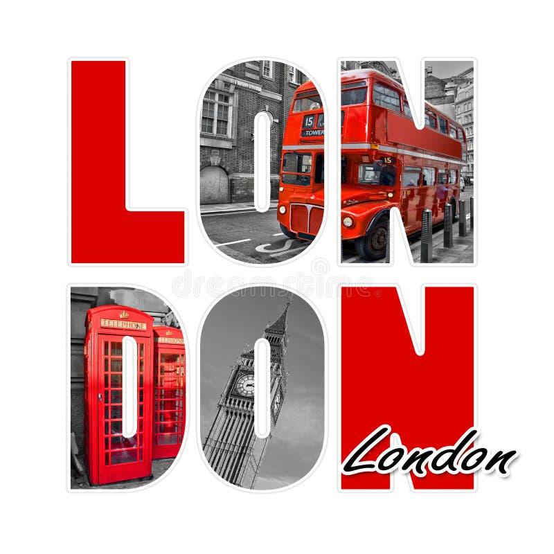 London-Buchstaben lokalisiert auf Weiß lizenzfreie abbildung