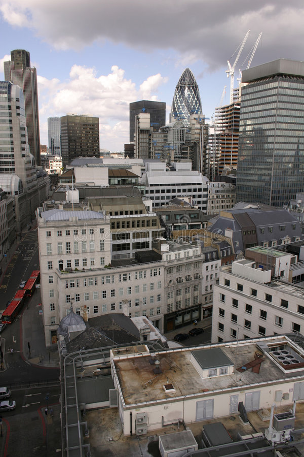 London Buildings and Streets. London cityscape - aerial photo of London buildings and streets, view from The Monument royalty free stock image