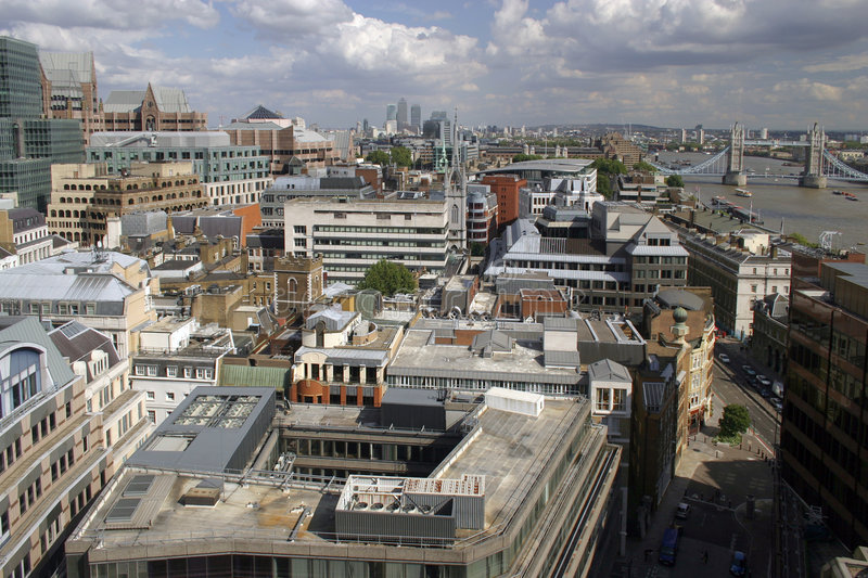 London Buildings and Streets. London cityscape - aerial photo of London buildings and streets, view from The Monument royalty free stock photography