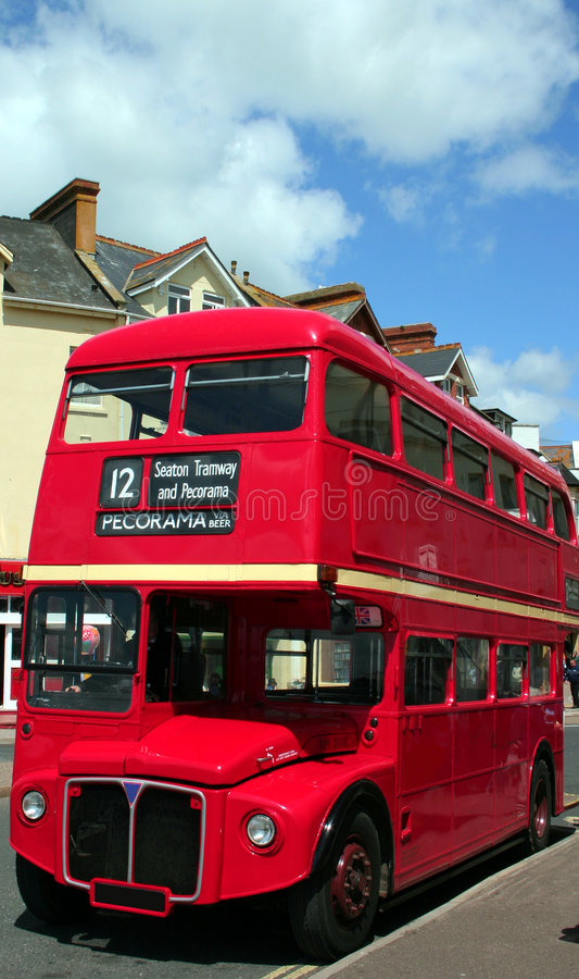 London Bus. A traditional bright red double decker Routemaster London bus royalty free stock photo