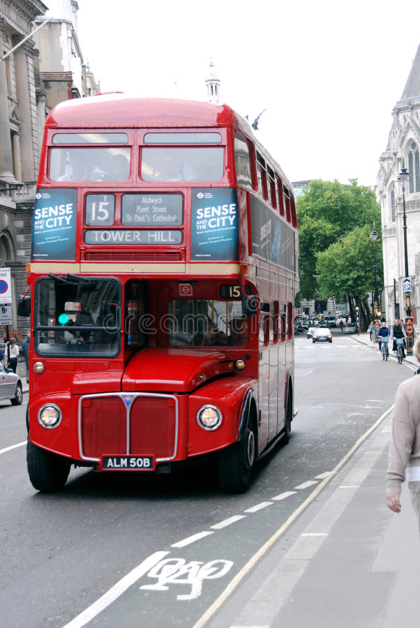London Bus in the City Of London. Iconic Routemaster London bus in Fleet Street, London royalty free stock photos