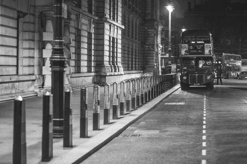 London Bus Stopped In Parking Bay Free Public Domain Cc0 Image