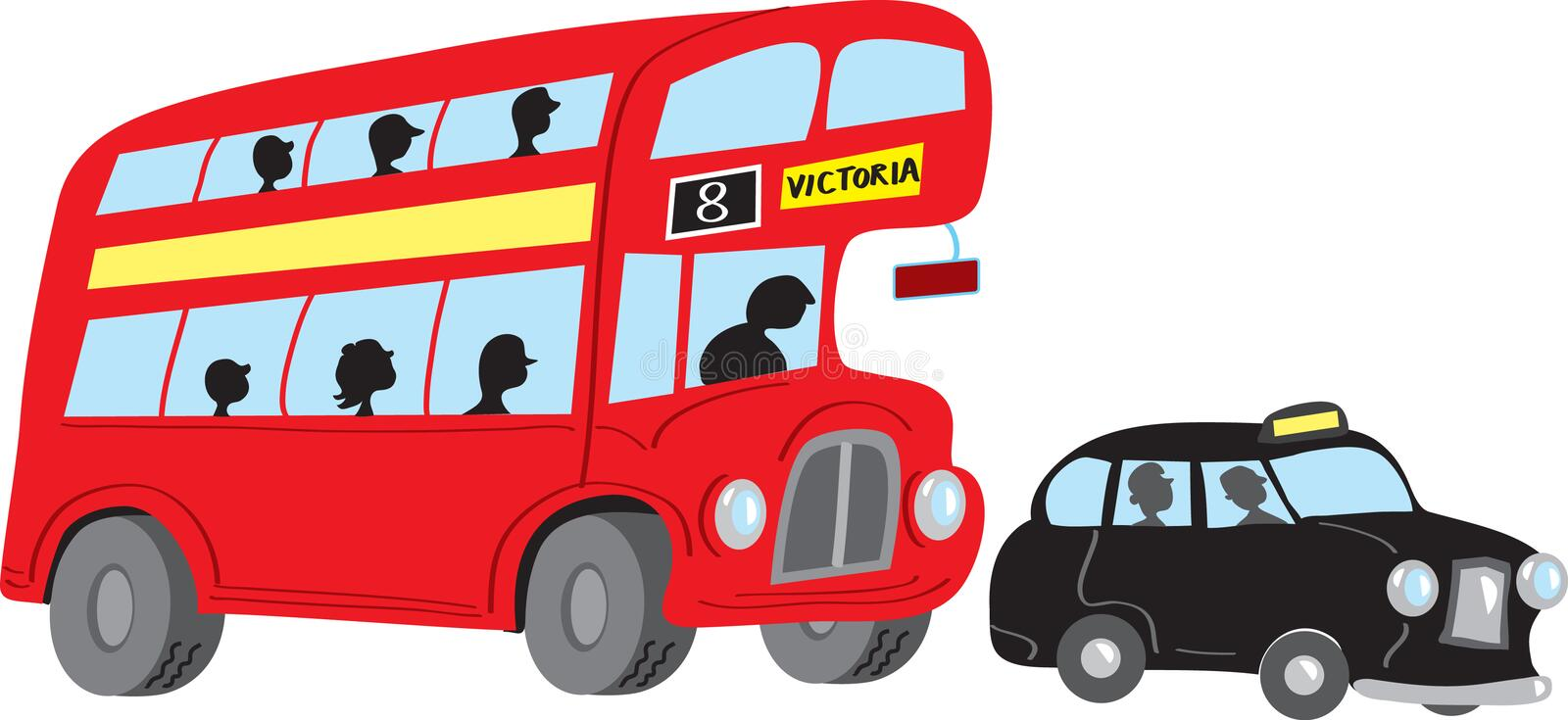 London bus and taxi vector illustration