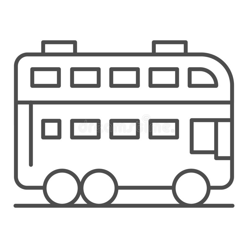 London bus thin line icon. Double decker bus vector illustration isolated on white. Travel outline style design stock illustration