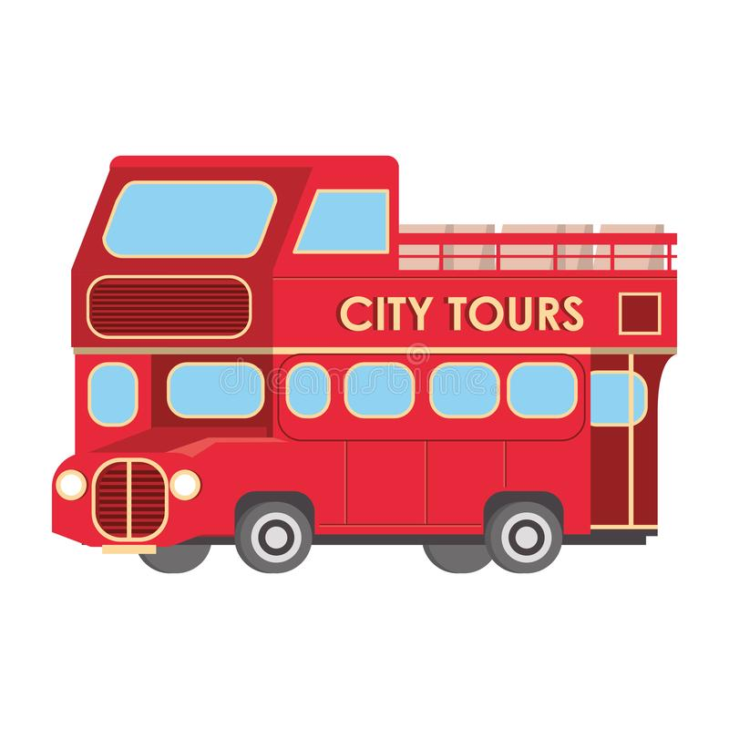 London-Busstadtrundfahrtfahrzeug lokalisierte vektor abbildung