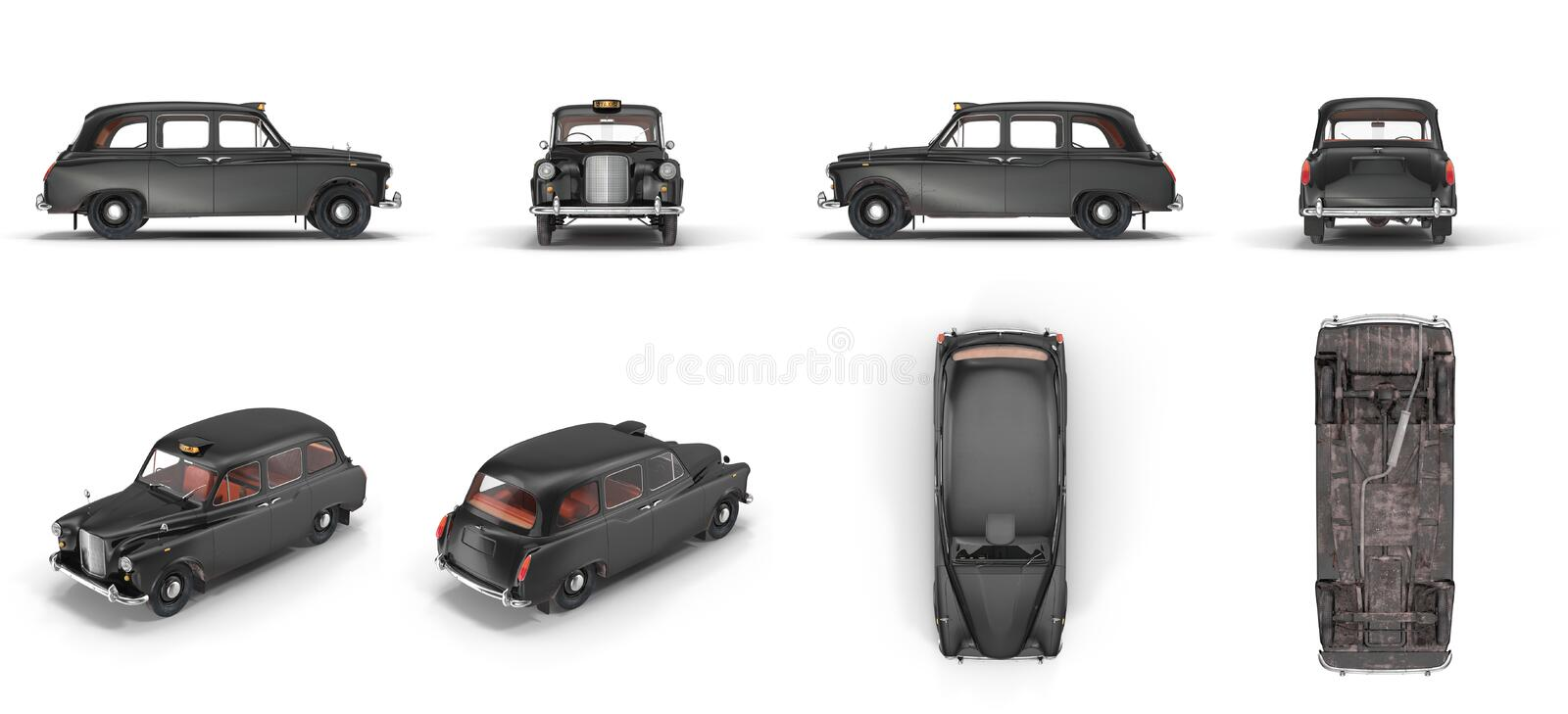London cab isolated on white 3D illustration vector illustration