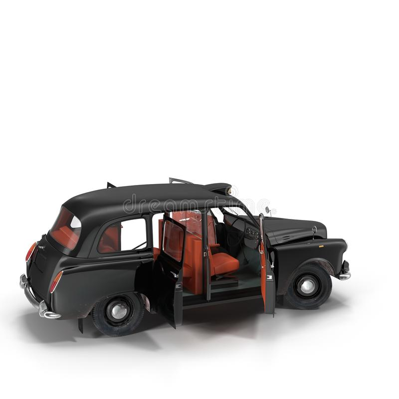 London cab isolated on white 3D illustration royalty free illustration