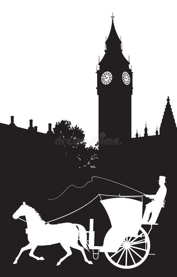 London cab near Big Ban. United Kingdom Capital architecture landmark, Horse taxicab, hansom cab silhouette, vector illustration royalty free illustration