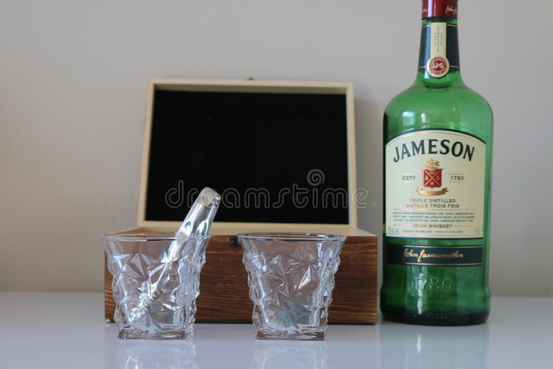 London Canada, February 14 2020: Editorial illustrative photo of Jameson whisky and a whisky set. London Canada, February 14 2020: Editorial photo of Jameson royalty free stock images