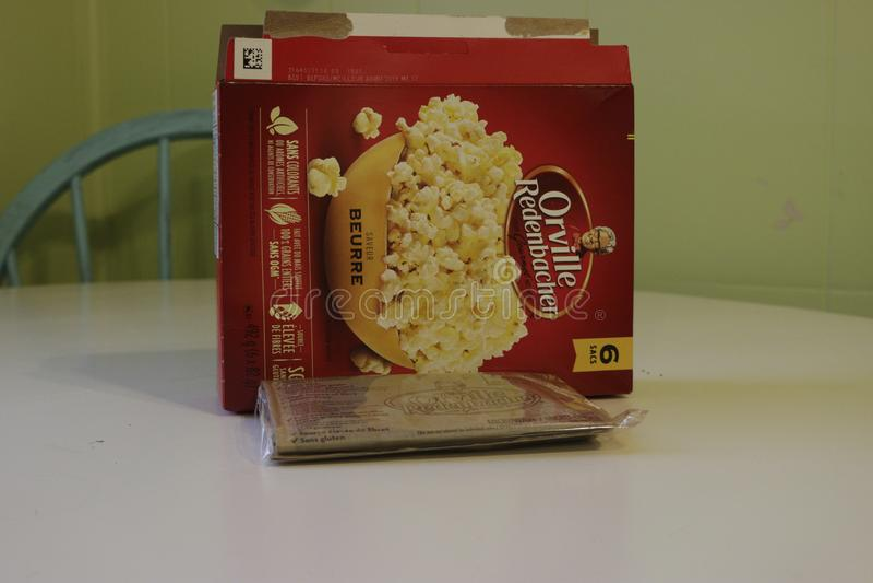 London Canada, January 01 2019: Editorial illustrative photo oforville redenbacher pop corn that is a popular american. Brand of popcorn stock photos