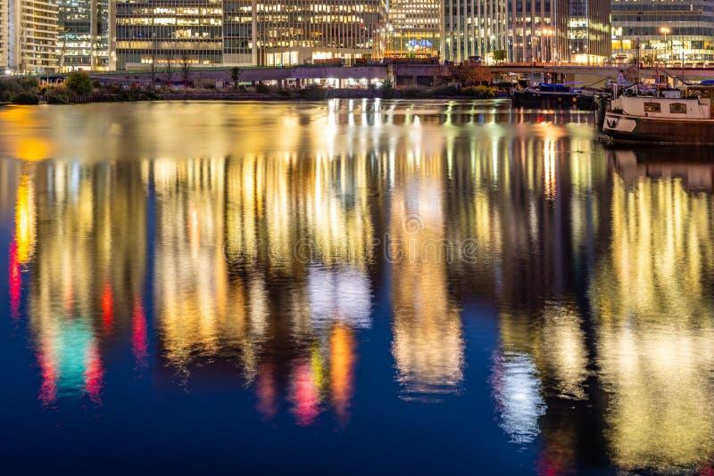 London Canary Wharf sunset stock photos